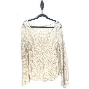 Cream lace sheer pullover top M